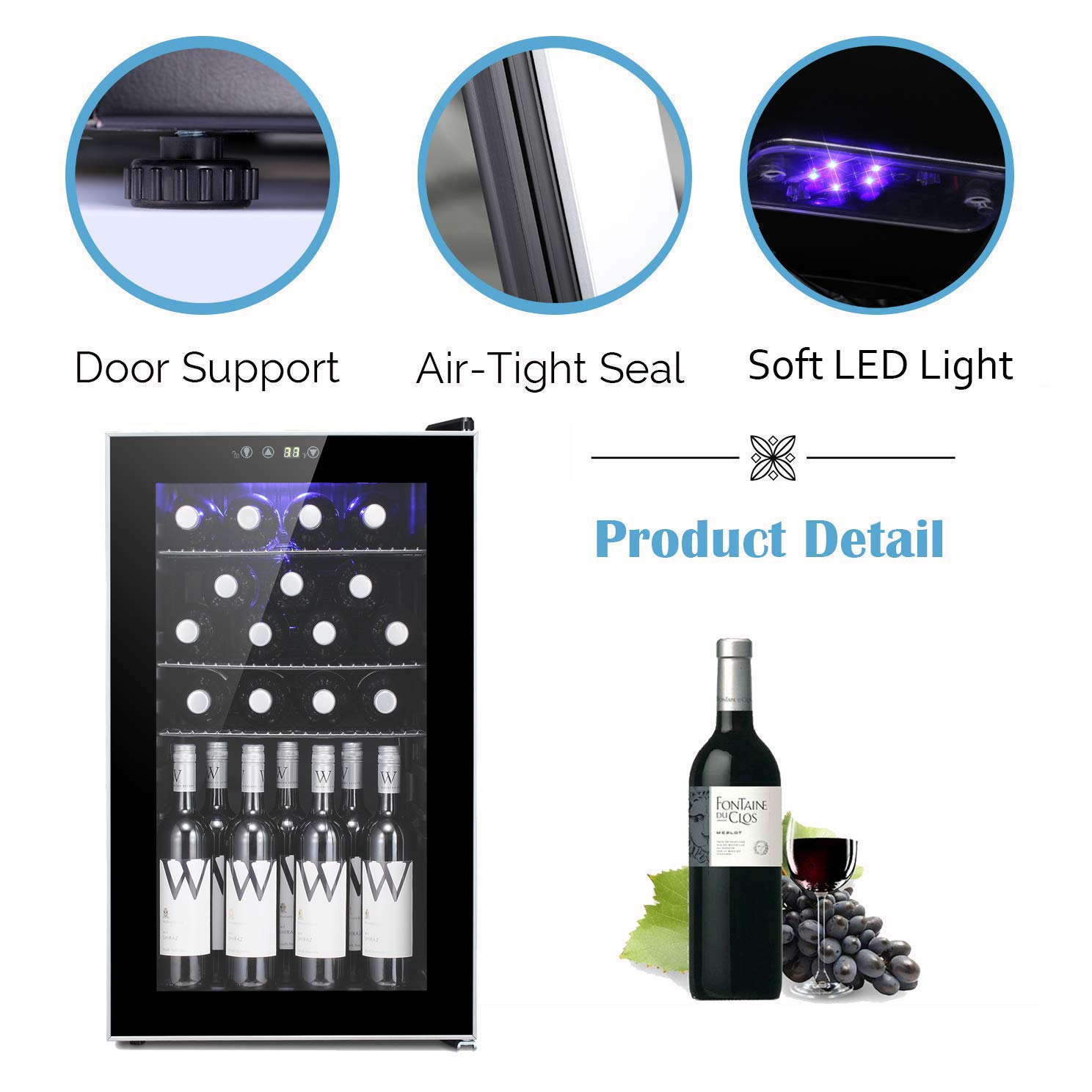 24 Bottle Wine Cooler Counter Top Wine Chiller Cabinet Refigerator with Glass Door and Touch Panel Digital Temperature Display Compressor Wine Cellar