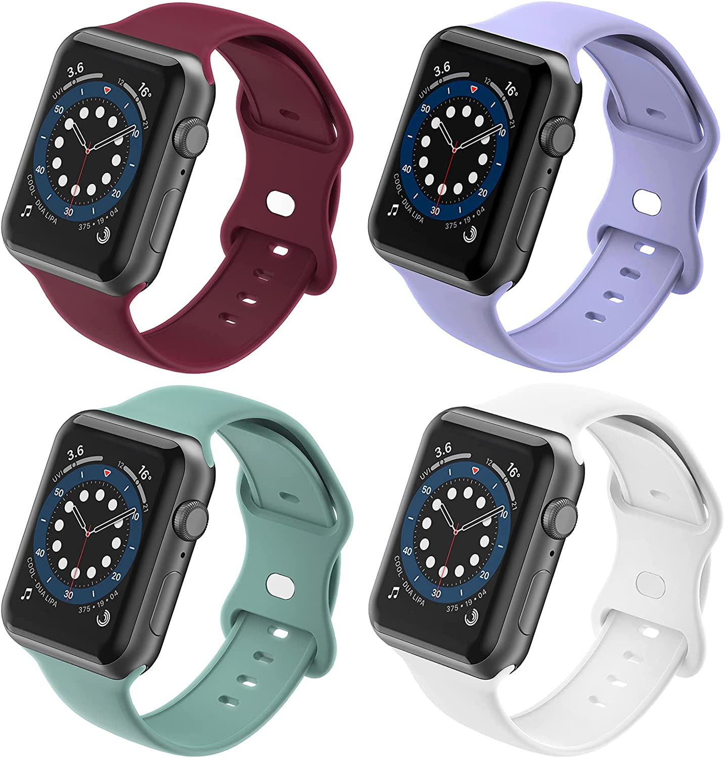 TopBang Compatible with Apple Watch Bands 38mm 40mm 42mm 44mm, Soft Silicone Sports Replacement Straps Women Men for iWatch Series 6 5 4 3 2 1 SE, Sport Edition