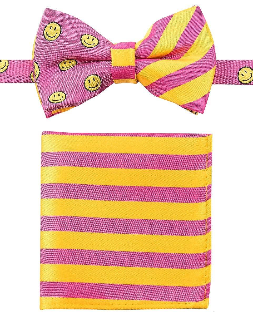 Canacana Smiley Emoji Pre-tied Boy's Bow Tie with Stripes Pocket Square Set CNC-CNST2PCBWTIE-2