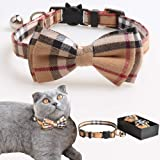 M-YOUNG Cat Collar Breakaway with Bell and Bow Tie, Plaid Design Adjustable Safety Kitty Kitten Collars(6.8''-10.8'') (b Yellow)