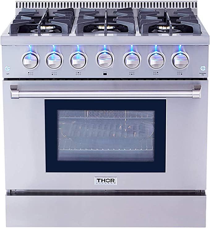 6 Burners Cast Iron Grates Convection Fan In Stainless Steel Thor Kitchen HRG3618U 36 Freestanding Professional Style Gas Range with 5.2 Cu Oven Blue Porcelain Oven Interior Ft