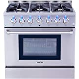 "Thor Kitchen HRG3618U 36"" Freestanding Professional Style Gas Range with 5.2 Cu. Ft. Oven, 6 Burners, Convection Fan, Cast Iron Grates, Blue Porcelain Oven Interior, In Stainless Steel"