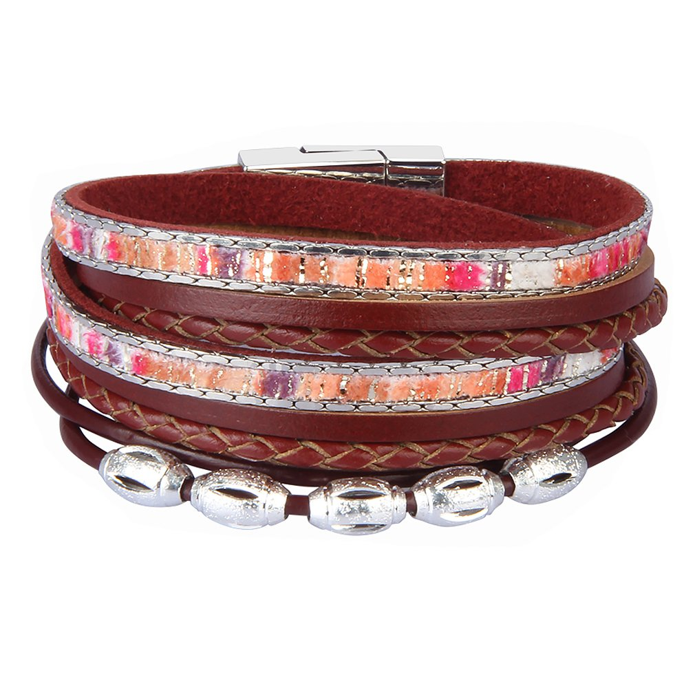 JOYMIAO Leather Wrap Bracelet - Good Lock Beads Multilayer Rope Braided Cuff Bangle - Handmade Wristband Jewelry for Women