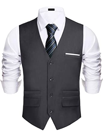 e0a7c3540 Daupanzees Men s Vest Modern Fancy Dress up Outfit Suit Single Breasted Suit  Vest Slim Fit Business