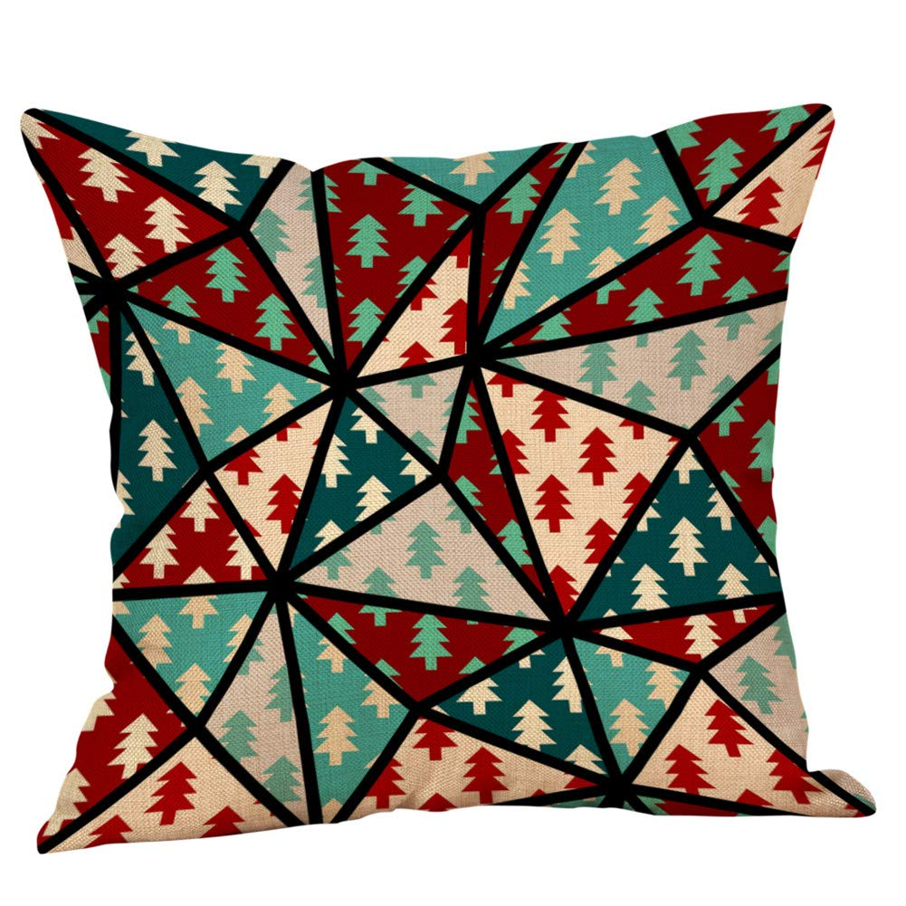 Cotton Linen Christmas Tree Home Decorative Pgojuni Throw Pillow Case Waist Cushion Throw Pillow Case Sofa/Couch 1pc 45X45 cm (G)
