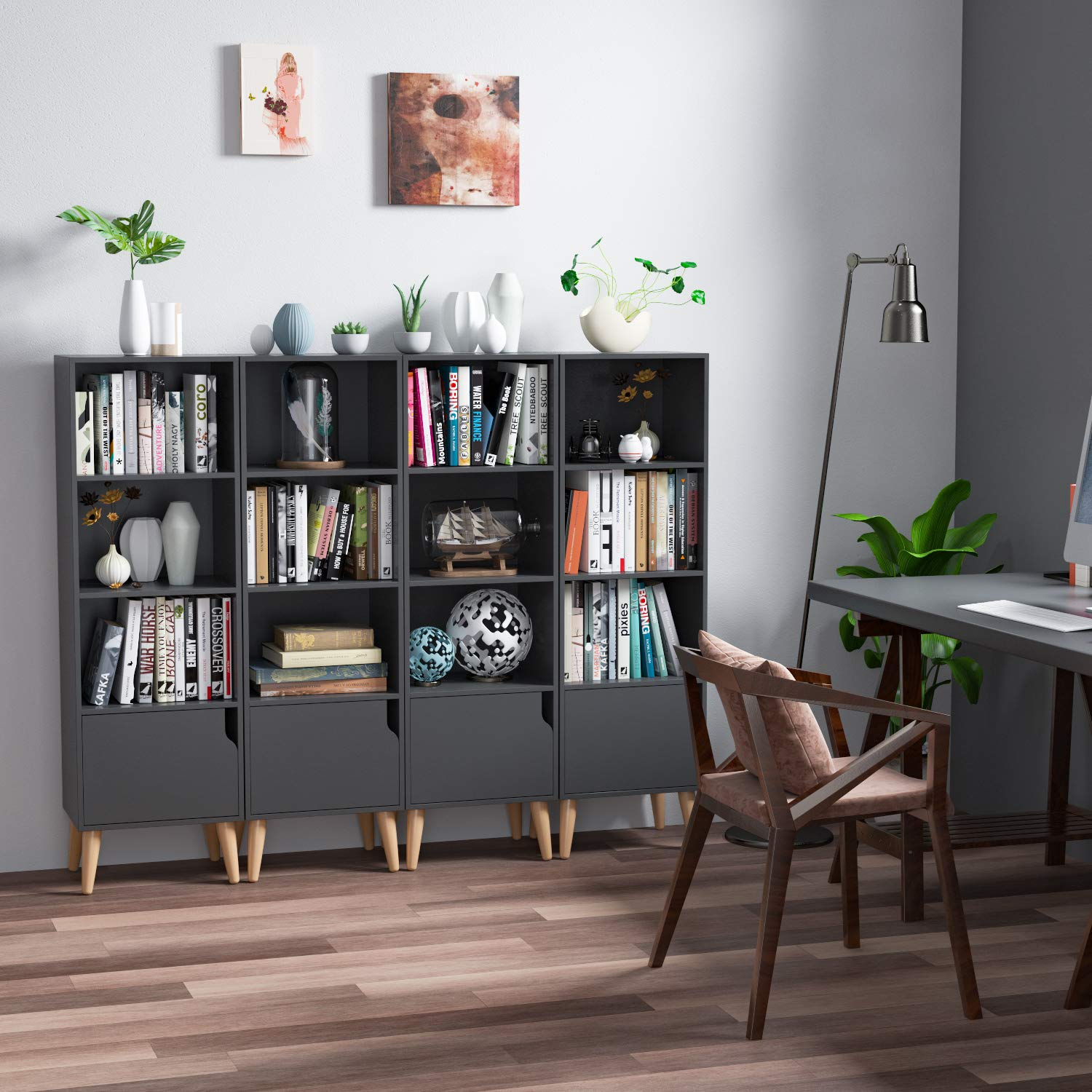Homfa 4 Tier Floor Cabinet, Free Standing Wooden Display Bookshelf with 4 Legs and 1 Door, Side Corner Storage Cabinet Decor Furniture for Home Office, Gray by Homfa (Image #4)