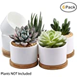 Succulent Pots, ZOUTOG White Mini 3.15 inch Ceramic Flower Planter Pot with Bamboo Tray, Pack of 6 (Plants NOT Included)