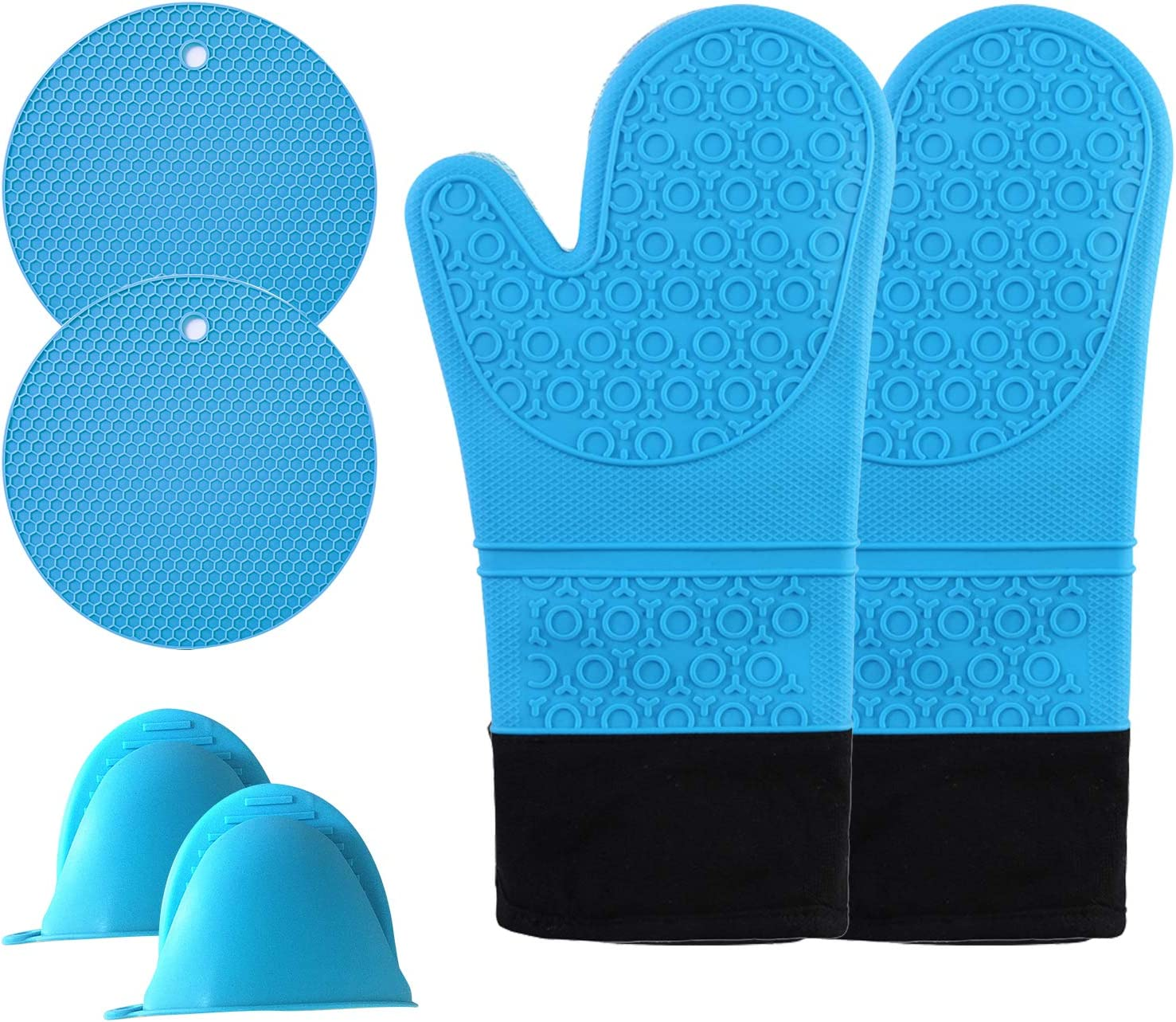 Oven Mitts, Long Silicone Oven Mitts and Pot Holders Set, 446℉ Heat Resistant, Quilted Liner, Flexible & Comfortable, Non-Slip Design, Easy to Clean, Great for Kitchen/Baking/Cooking/BBQ