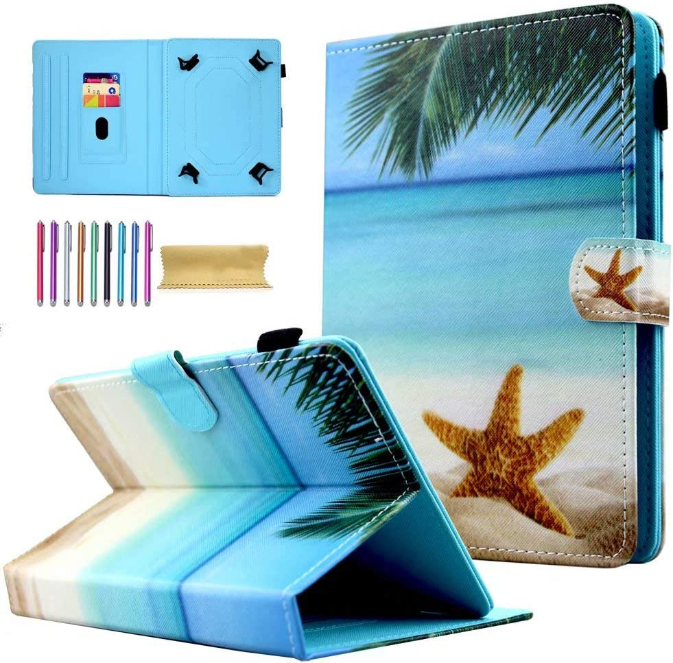 "Universal 10"" Tablet Case, AMOTIE Wallet Stand Cover w/Credit Card Slots for iPad 9.7 2018 2017/ iPad Air 1 2/ Galaxy Tab A 10.1 S4 10.5/ Tab E 9.6/ Fire HD 10/ Google and More, Beach"