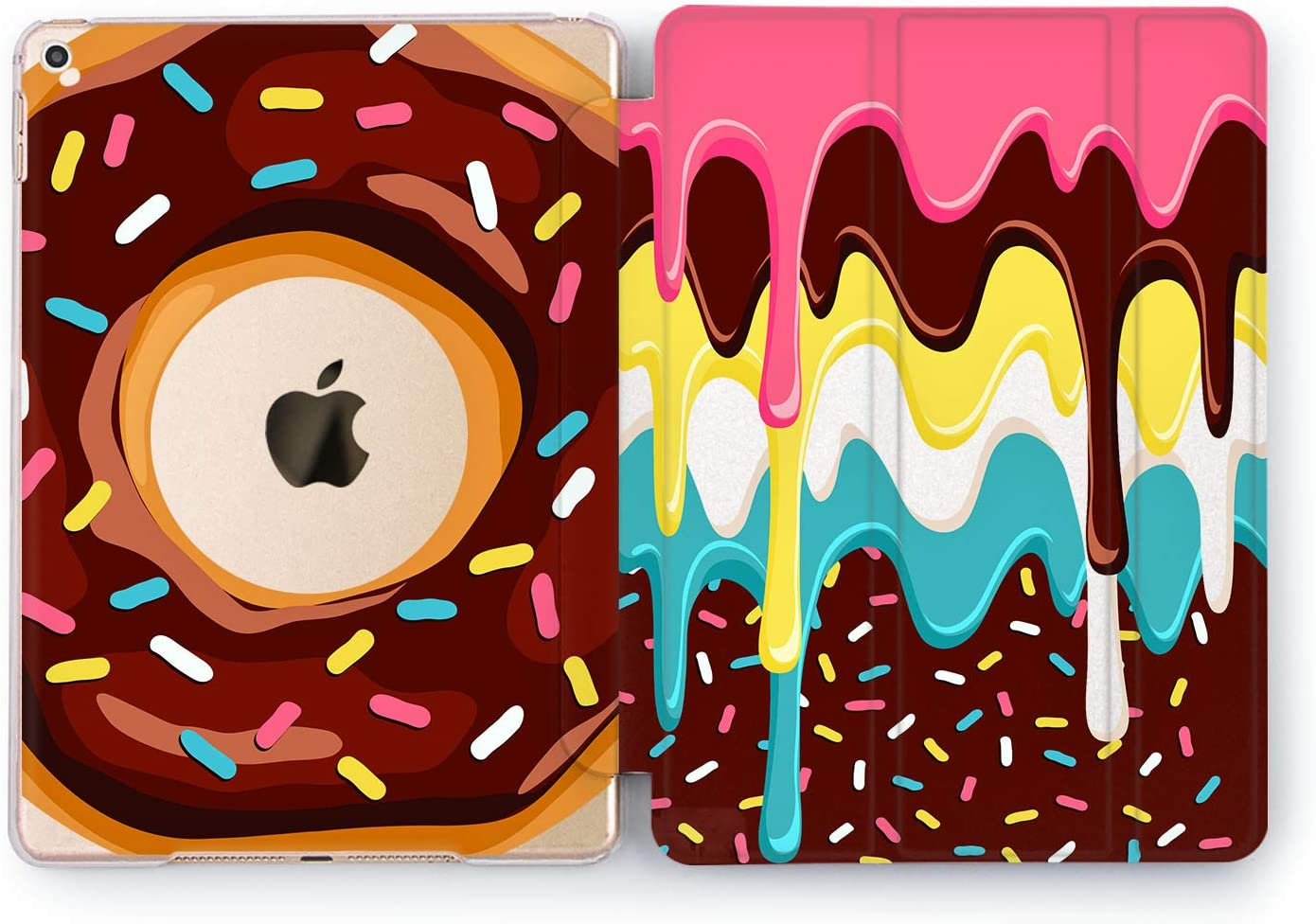 Wonder Wild Case Compatible with Apple iPad Sugar River Design 2 3 4 Pro 9.7 11 inch Mini 1 2 3 4 5 Air 2 10.5 12.9 11 10.2 5th 6th Gen Hard Cover Donuts Glaze Chocolate Sweets Cake Candies Bakery