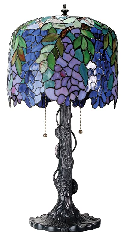 Amazon 25 inch stained glass pattern shade wisteria lamp with 25 inch stained glass pattern shade wisteria lamp with black base mozeypictures Gallery