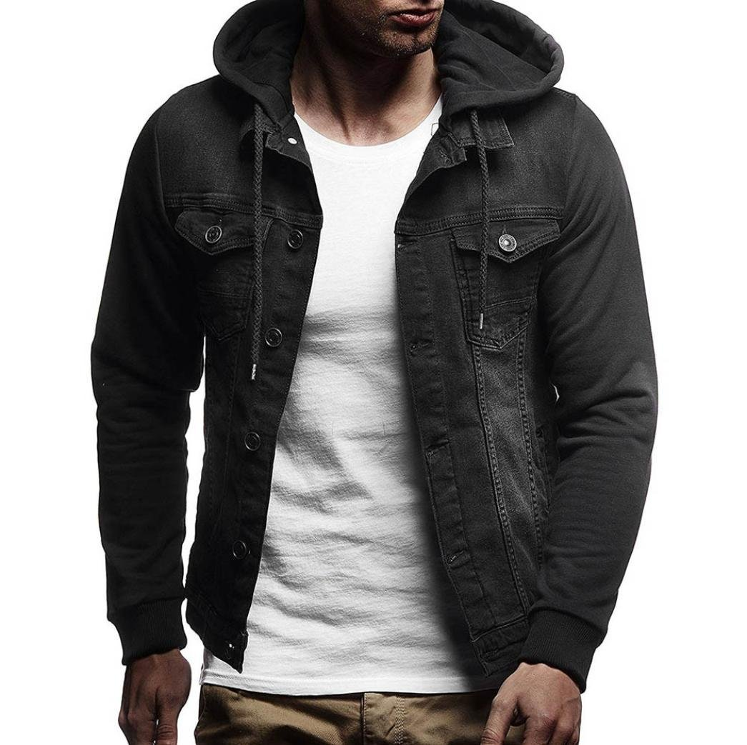 Clearance Sale! 2018 Wintialy Mens' Autumn Winter Hooded Vintage Distressed Demin Jacket Tops Coat Outwear