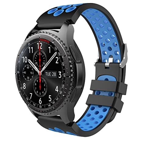 TiMOVO Band Compatible for Samsung Gear S3 / Galaxy Watch 46mm, Perforated Silicone Replacement Strap Fit Samsung Gear S3 Frontier, S3 Classic, Moto ...