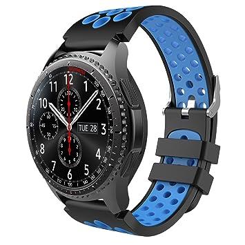 MoKo Gear S3 Correa, Correa de Repuesto Perforada de Silicona Suave para Samsung Gear S3 Frontier/Galaxy Watch 46mm / S3 Reloj de Pulsera Clásica, NO ...