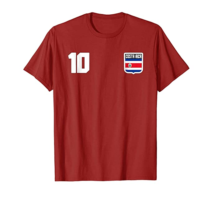 Mens Costa Rica T-shirt Costa Rican Flag Soccer Futbol Fan Jersey 2XL Cranberry