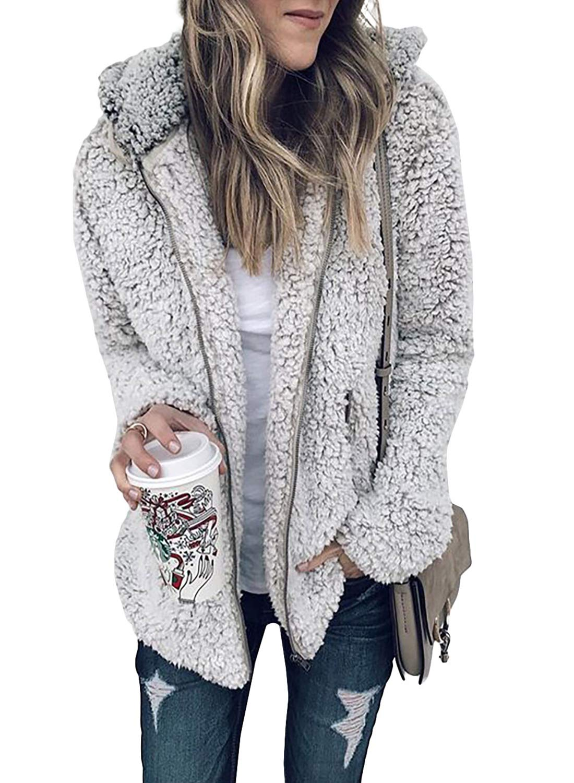Dokotoo Women Cozy Warm Oversized Hoodies Coats Full Zip Up Fleece Fuzzy Cardigans Long Sleeve Teddy Jackets Hooded Coats Sweater Plus Size Grey Medium by Dokotoo