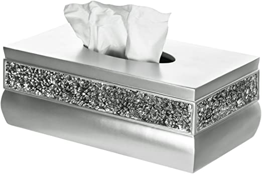 Amazon Com Creative Scents Rectangle Tissue Box Cover Decorative Bathroom Tissues Paper Napkin Holder Bottom Slider Silver Home Kitchen