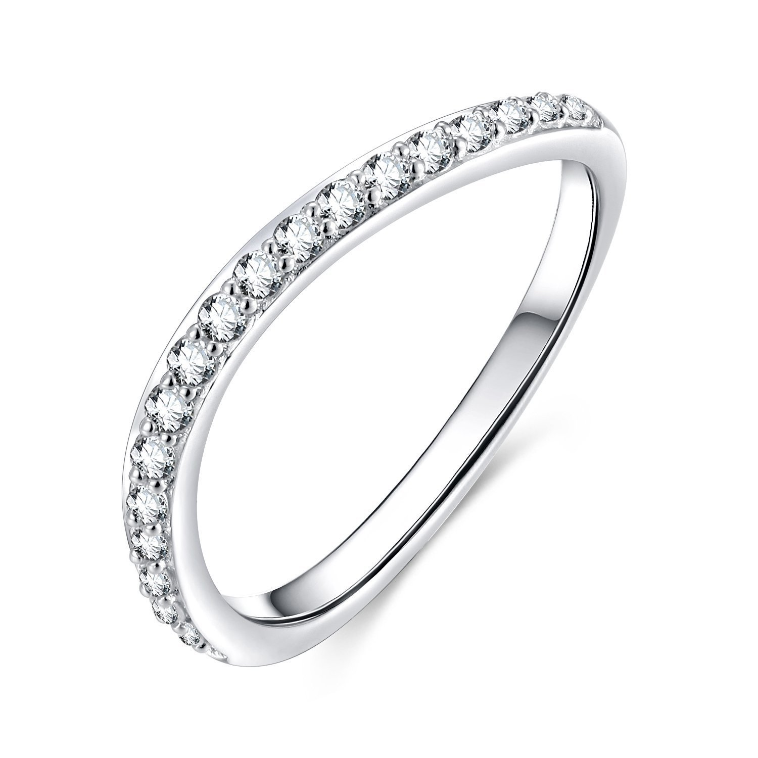 EAMTI Curved Half Eternity Wedding Band Cubic Zirconia CZ 925 Sterling Silver Ring Size 8