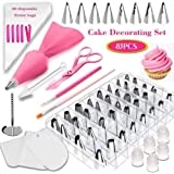 83 Pieces Cake Decorating Kits in a Box, Stainless Steel Icing Piping Nozzle Tip Set with 44 Numbered Icing Tips, Baking Frosting Tools Set for Cupcakes Cookies