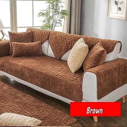 YQ WHJB Felpa Antideslizante Toalla de sofá,Invierno Cubierta del sofá de Color sólido,