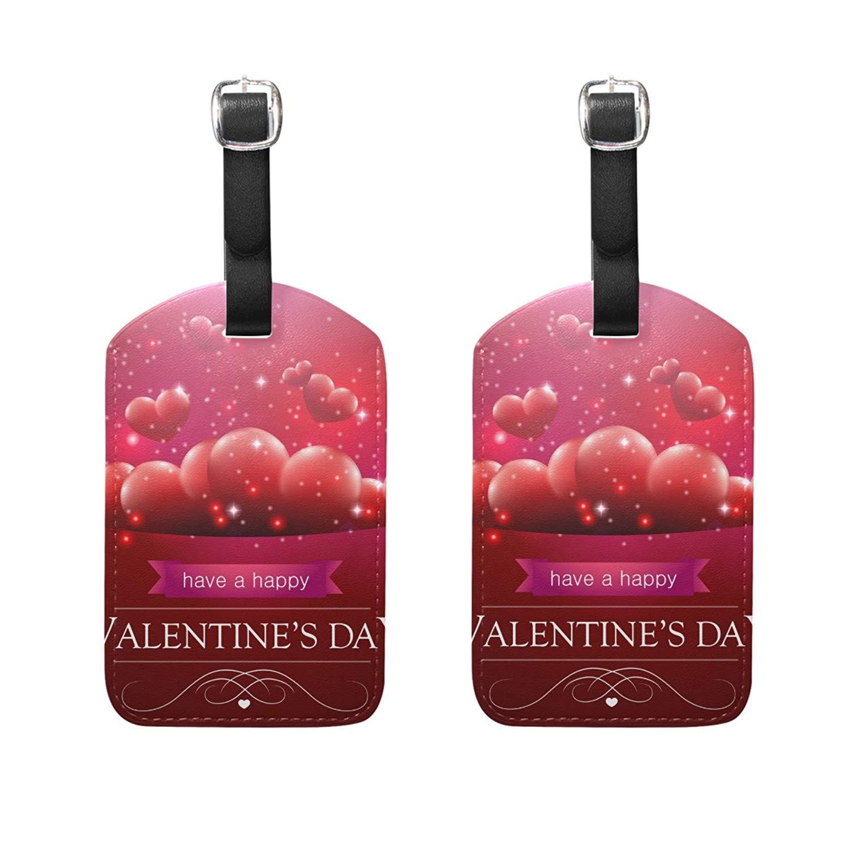 荷物タグ2個セット バレンタインハート ラブ スーツケースラベル 旅行アクセサリー, カラー 9, 5 x 2.8 inches B07GYKP8N2 カラー 9 5 x 2.8 inches