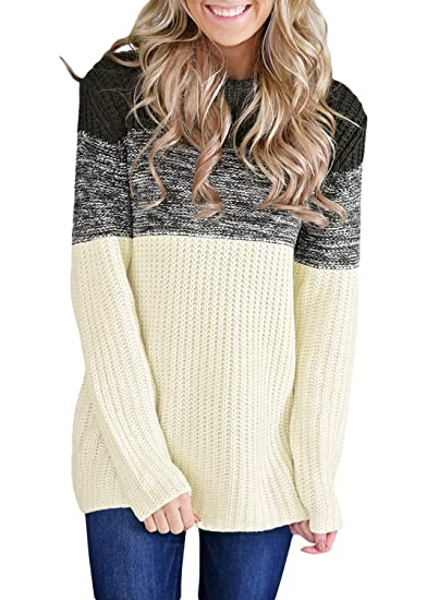 1cec780f36b Lovezesent Women Color Block Cowl Neck Long Sleeve Knit Pullover Sweaters  Jumper