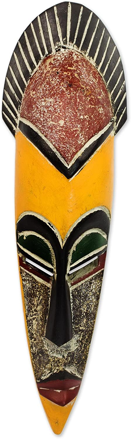 NOVICA Yellow and Brown Painted Ghanaian Wood Wall Mask, Protect The Jungle'