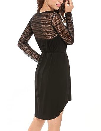 Parabler Kleid Damen Langarm Knielang mit Spitze, A Linie Festliches Kleid  Elegant  Amazon.de  Bekleidung 628e8996df