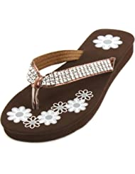 "1"" Ladies Bling Bling Crystals Flip Flops Thongs Sandals Slippers"