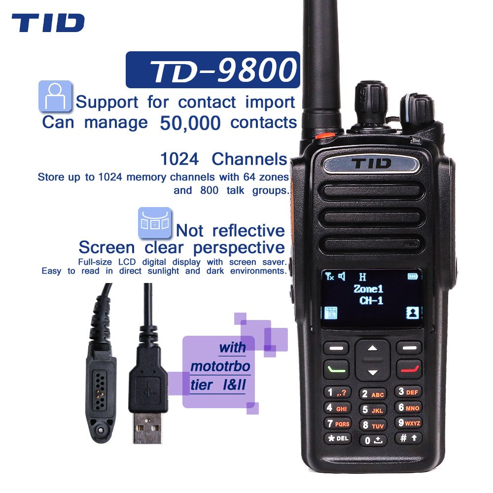 TID Industrial DMR Walkie Talkie Compatible with MotoTRBO Digital Radio TD-9800 Two way radio Military Walkie-talkie For Business Army And Ham Radio Operater
