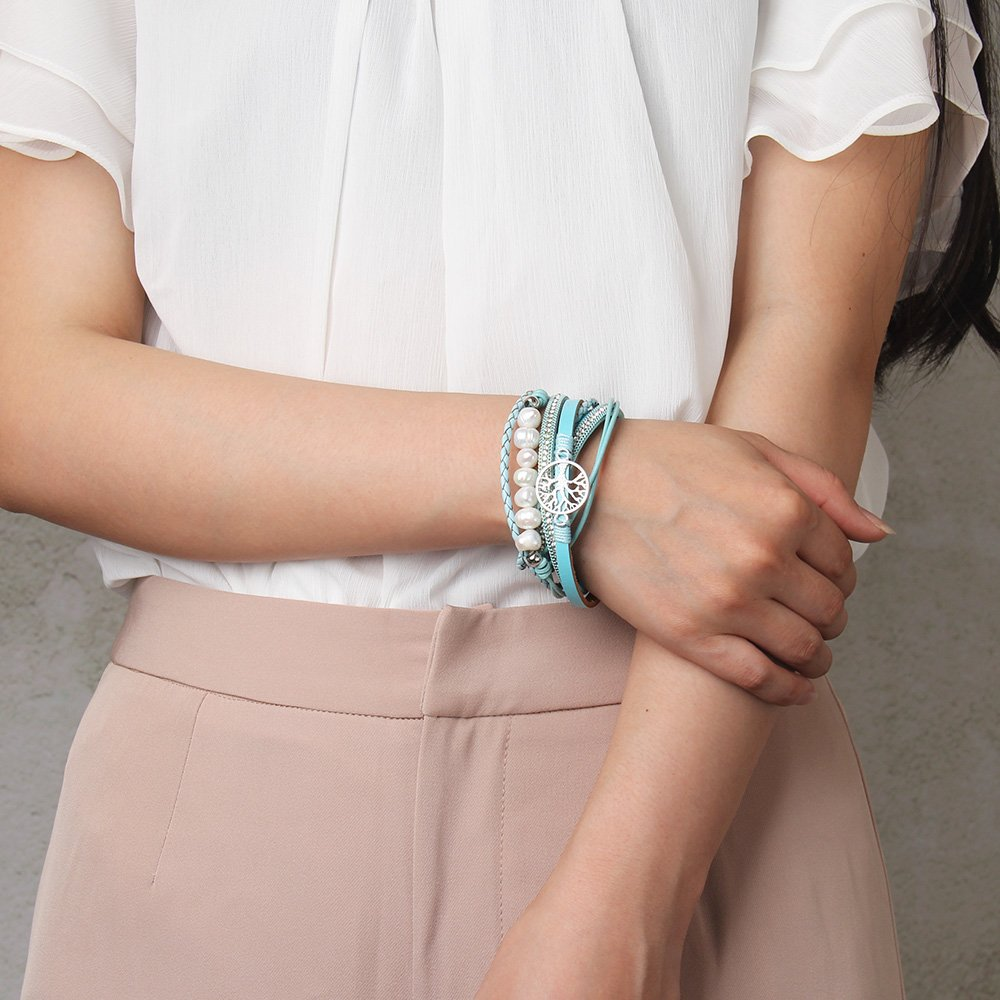 Jenia Tree of life Leather Bracelet Rope Wrap Pearl Cuff Wristband for Women with Gift Bags by Jenia (Image #6)