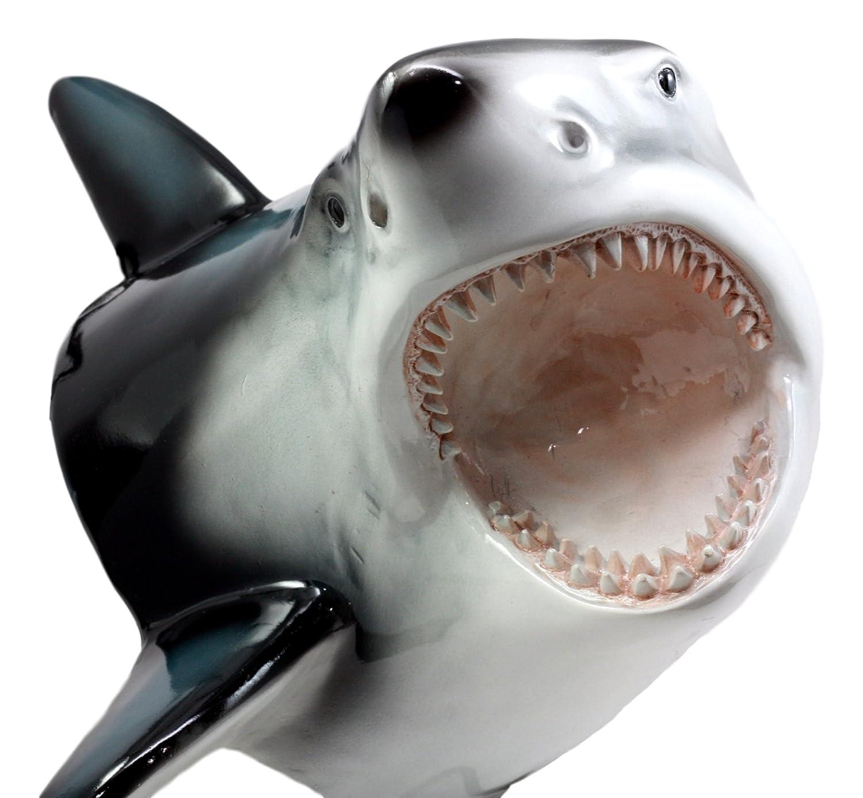 """Ebros Great White Shark Trophy Wall Decor Sculptural Hanging Plaque 12"""" Tall Taxidermy Art Decor Sculpture Ocean Apex Predator Shark Wall Bust Plaque"""