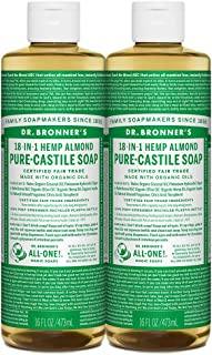 product image for Dr. Bronner's - Pure-Castile Liquid Soap (Almond, 16 ounce, 2-Pack) - Made with Organic Oils, 18-in-1 Uses: Face, Body, Hair, Laundry, Pets and Dishes, Concentrated, Vegan, Non-GMO