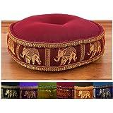 Zafukissen Seide mit Kapokfüllung,Sitzkissen der Marke Asia Wohnstudio, Meditationskissen bzw. Yogakissen, rundes Sitzkissen / Bodenkissen
