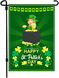 W&X St Patrick's Day Garden Flag,Shamrock/Beer St Patricks Flag 12.5 x 18 Inch Double-Sided Display 2 Layer Linen for Garden and Home Decorations