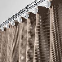mDesign - Douchegordijn - luxe/cool/met wafelstructuur/onderhoudsvriendelijk/schimmelbestendig/waterafstotend - taupe