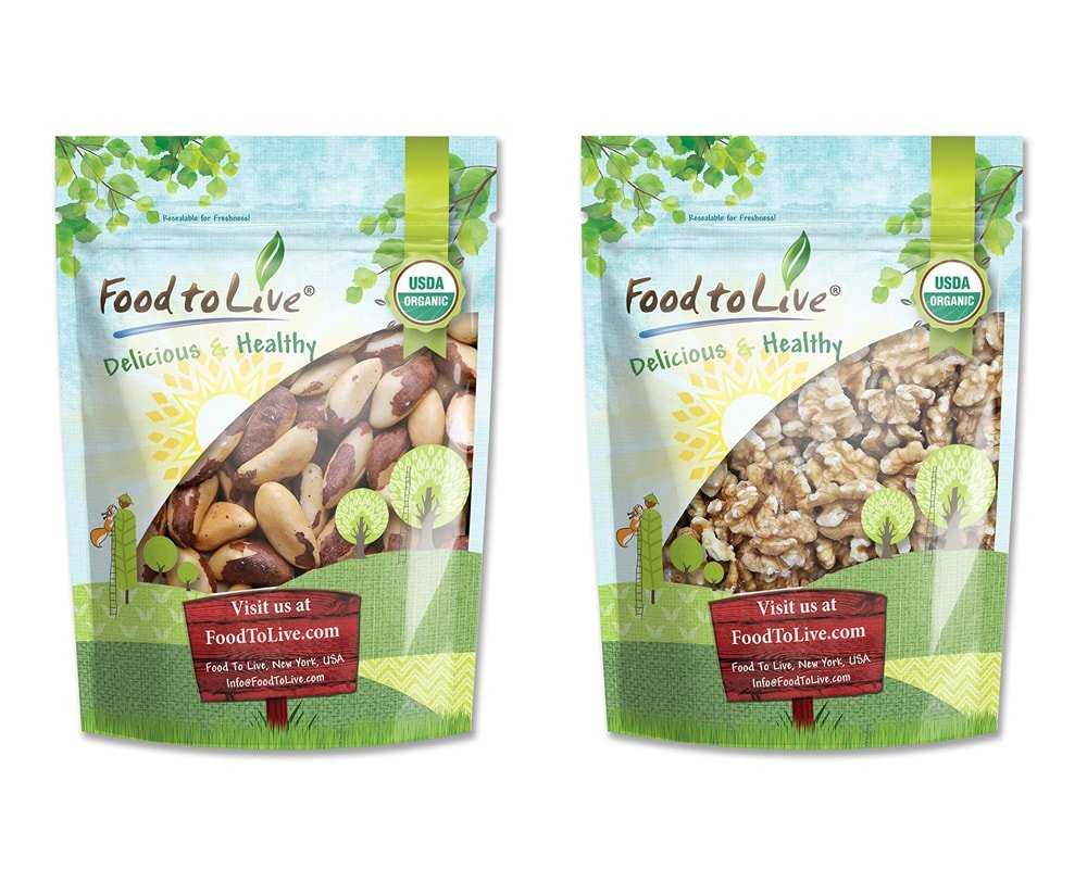 Organic Nuts Bundle with Organic Brazil Nuts, 1 Pound and Organic Walnuts, 8 Ounces - Raw, No Shell