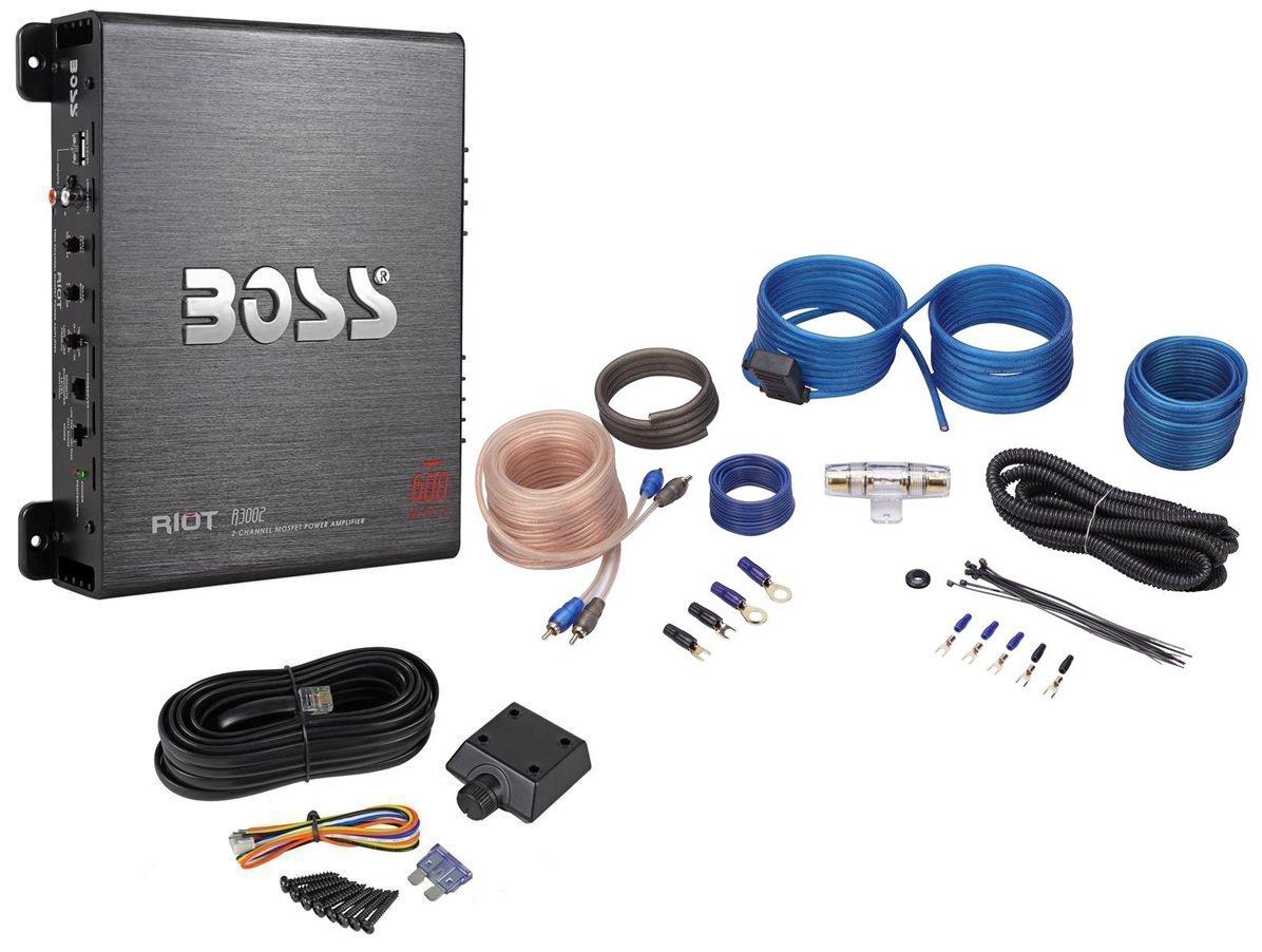 Boss R3002 600 Watt 2-Channel Car Power Amplifier+Remote Level Control+Amp Kit