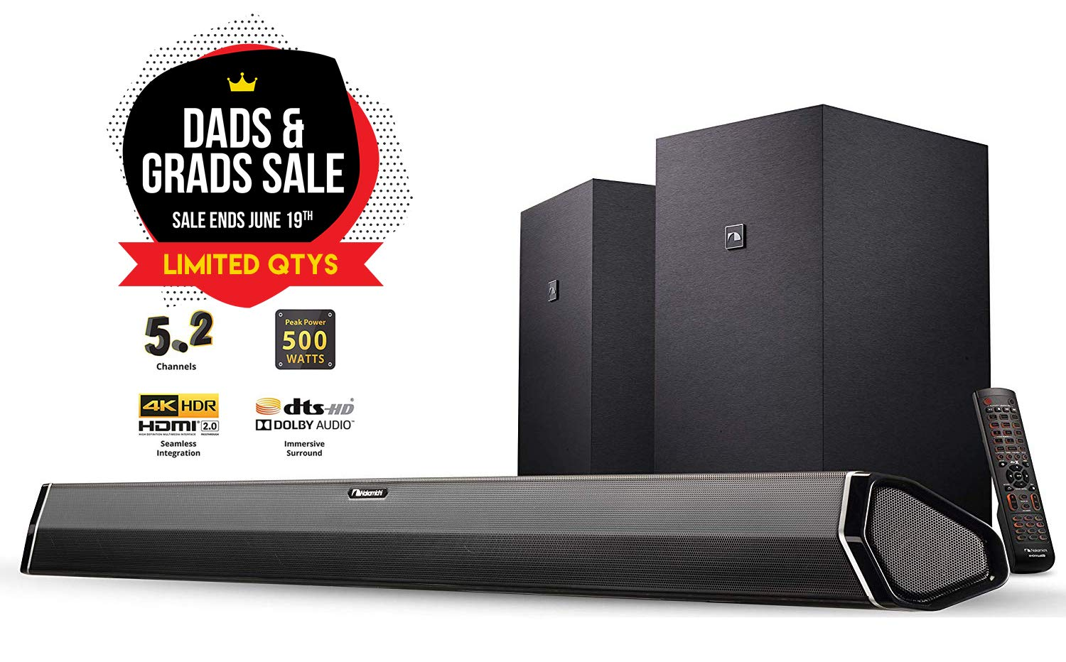 Nakamichi Shockwafe Plus 5.2Ch 500W 45-Inch Sound Bar with Dual 8'' Wireless Subwoofers