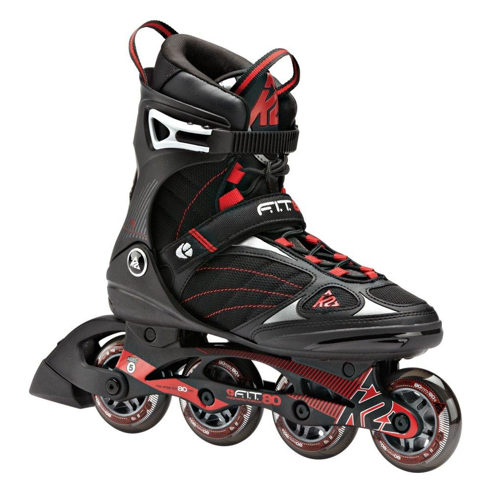 K2 Skate F.I.T. 80 Inline Skates, Black/Red, 6.5