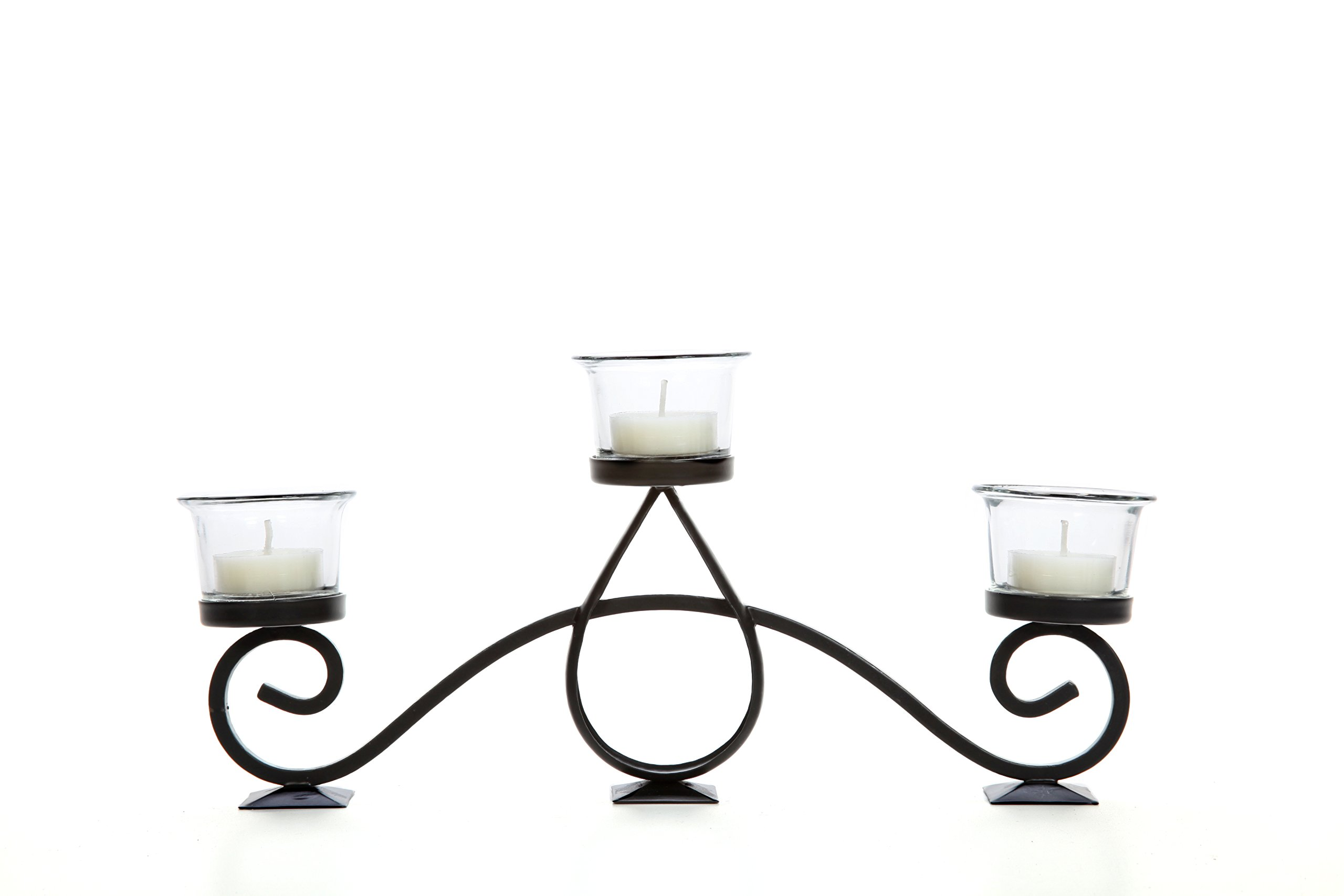 Hosley Teardrop Scroll Tealight Holder- 13'' Long. Ideal Gift for Fireplace, Family Room, Spa, Aromatherapy, Votive Candle Gardens. P2