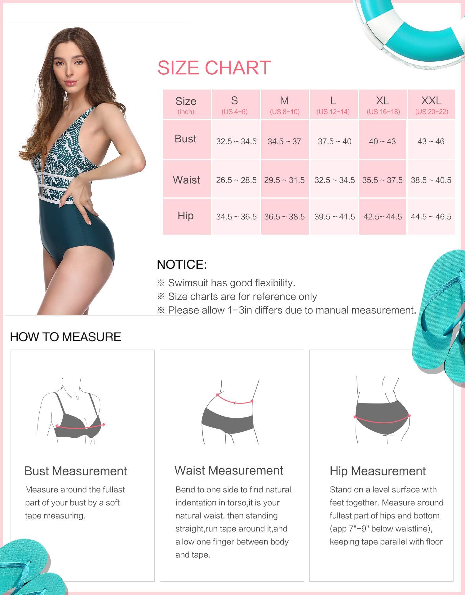 Verano Playa Women One Piece Swimsuit Deep Plunge Monokini High Waist Tummy Control Bathing Suit