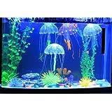 Jooks 5 Stücke Jellyfish Aquarium Dekoration Künstliche Künstliche Quallen für Aquarium Deko Fisch Tank Aquarium Ornament Glowing-Effekt Fish Tank Ornament