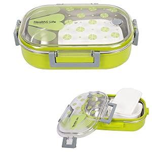 Duze Stainless Steel School Lunch Box for Kids and Teenager,Transparent Lid (Green Colour)