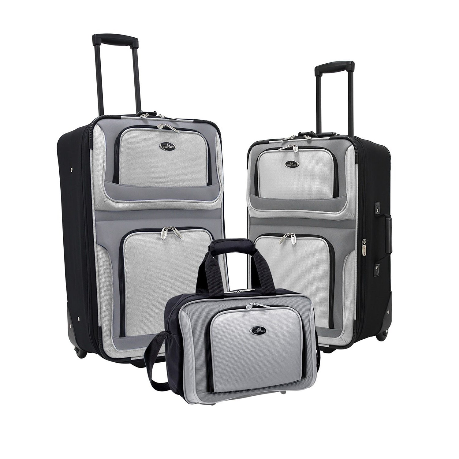 3 Piece Solid Color Blocked Design Rolling Lightweight Expandable Luggage Set Suitcases, Modern Fine Two Toned Theme, Softsided, Checkpoint Friendly, Multi Compartment, Soft Travel Cases, Grey, Black