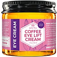 Coffee Eye Lift Cream by Leven Rose 100% Natural, Reduces Puffiness, Brightens Tired...
