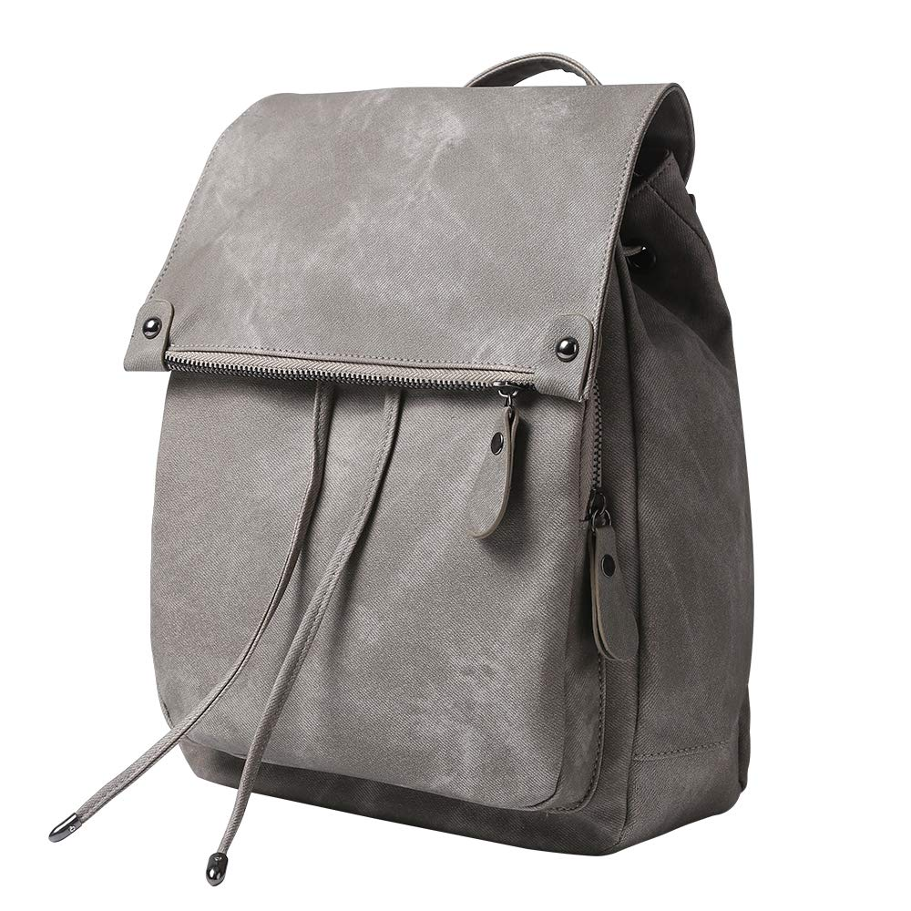 Women Backpack Waterproof Anti-theft Lightweight PU Leather Nylon Shoulder Bag Travel Backpack Ladies(Grey) by ROOSALANCE