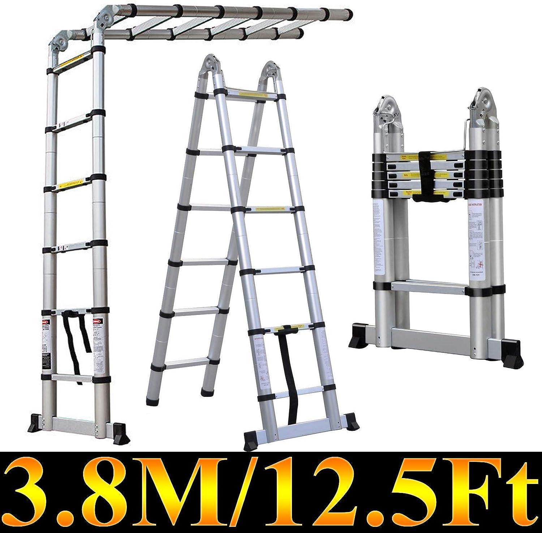 Escalera telescópica de aluminio de 3,8 m, escalera plegable con capacidad de 330 libras con mecanismo de bloqueo de carga de resorte, antideslizante: Amazon.es: Bricolaje y herramientas