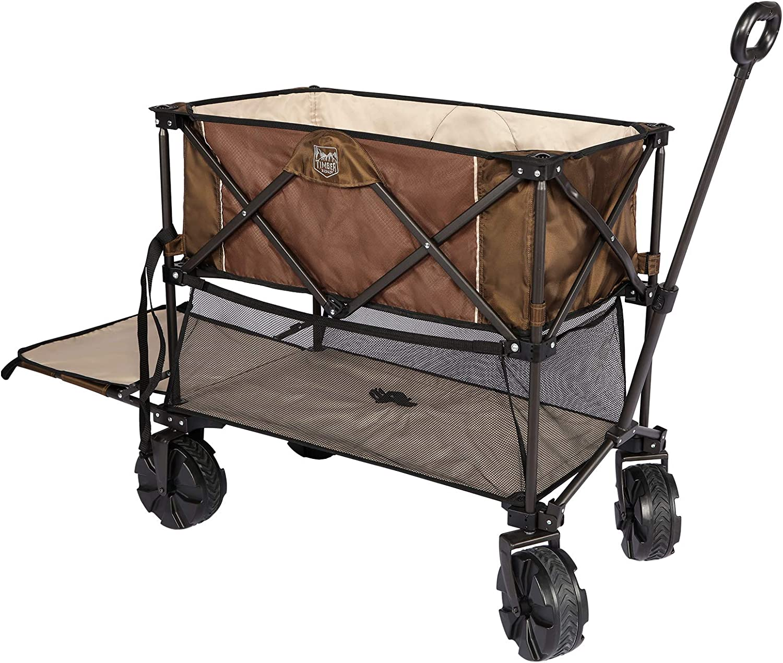 Timber Ridge Folding Double Decker Wagon Collapsible Cart with Big Wheels for Beach Shopping Garden