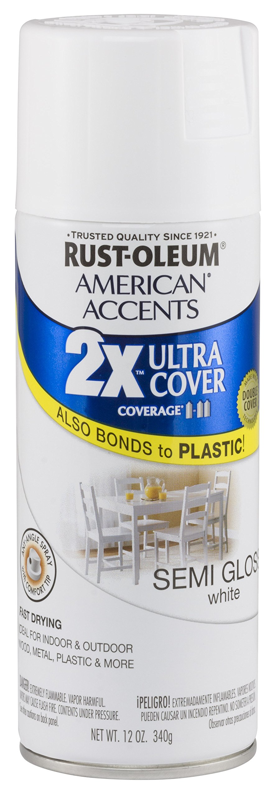 Rust Oleum 280722 American Accents Ultra Cover 2X Spray Paint, Semi-Gloss White, 12-Ounce